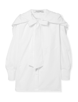 Hooded Pussy Bow Silk Trimmed Cotton Poplin Shirt by Valentino