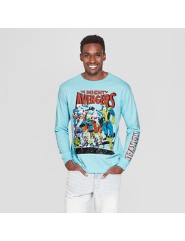 Men's Long Sleeve Marvel Avengers Crew T Shirt   Light Blue by Marvel