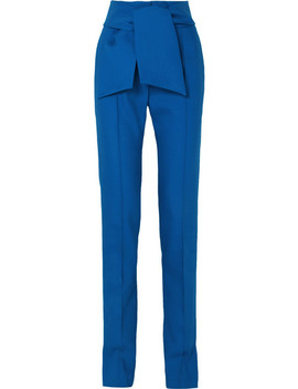 Bow Embellished Wool Blend Slim Leg Pants by Valentino