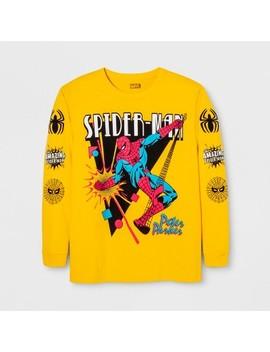 Men's Long Sleeve Marvel Spiderman Crew T Shirt   Yellow by Marvel