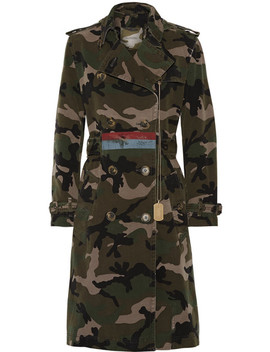 Embellished Camouflage Print Cotton Canvas Trench Coat by Valentino
