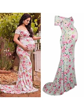 Puseky Nursing Maternity Clothing Photography Props Woman Maxi Dress Floral Long Length Clothes For Pregnant Women Pregnancy by Puseky