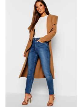 Petite Waterfall Wool Look Duster by Boohoo