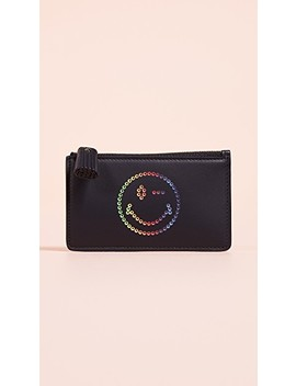 Rainbow Wink Zip Card Key Case by Anya Hindmarch