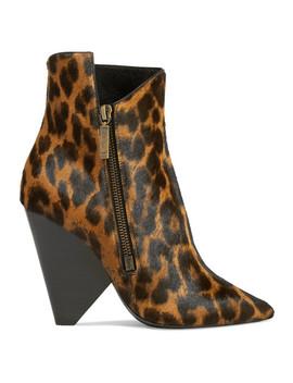 Niki Leopard Print Calf Hair Ankle Boots by Saint Laurent