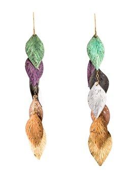 14 K Multicolor Leaf Earrings by Earrings