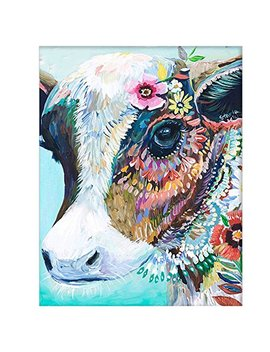 Diy Oil Painting Paint By Number Kits Diy Canvas Painting By Numbers Acrylic Oil Painting For Adults Kids Arts Craft For Home Wall Decor Colourful Cow by Antiniska