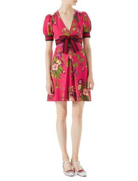 Floral Print A Line Dress by Gucci
