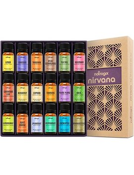 Natrogix Nirvana Essential Oils   Top 18 Essential Oil Set 100 Percents Pure Therapeutic Grade 18/10ml Incl. Lavender, Moroccan Rosemary, Tea Tree, Eucalyptus,... by Natrogix