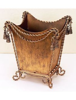 New French Royal Tassel Regal Twisted Iron Rope Swag Gold Waste Basket by Lux Decor
