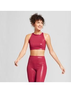 Women's High Neck Shine Sports Bra   Joy Lab™ Sangria Red by Joy Lab