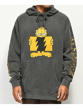 The Hundreds X Garfield Flag Logo Black Pigment Hoodie by The Hundreds