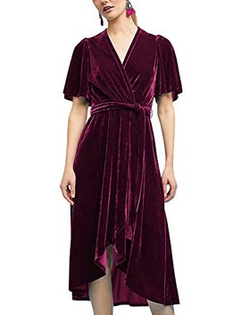 R.Vivimos Women Velvet Pleated Wrap Tie Waist Elegant Flowy Party Plus Size Midi Dresses by R.Vivimos