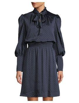 Velvet Dotted High Neck A Line Dress by Julia Jordan