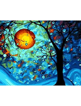[Framless]Diy Oil Painting Paint By Number Kit For Adult Kids Linen Material  Dream Tree By Van Gogh 16x20 Inch by Digital Oil Painting