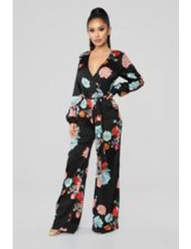 Vibes In The Garden Floral Jumpsuit   Black/Multi by Fashion Nova