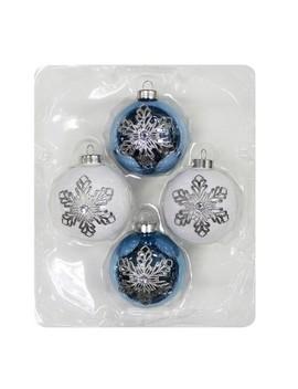 4ct Christmas Ornament Set Blue And White Snowflakes   Wondershop™ by Wondershop