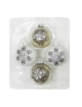 4ct Snowflakes Christmas Ornament Set Silver And White   Wondershop™ by Wondershop