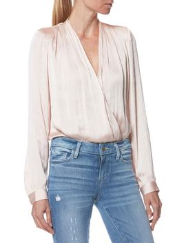 Sevilla Hammered Satin Surplice Bodysuit by Paige