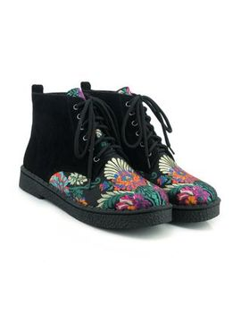 Megan   Embroidered Lace Up Short Boots by Megan