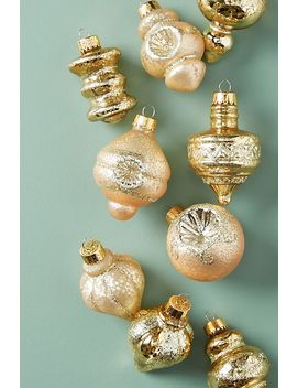 Glitter Brushed Ornaments, Set Of 9 by Anthropologie