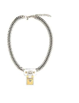Silver Locked Charm Chain Necklace by Rebecca Minkoff
