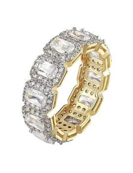 Yellow Gold Womens Tone Sterling Silver Emerald Cut Cz Diamond Wedding Ring by Tradesy