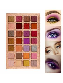 Afu Pigmented Eyeshadow Palette Matte + Shimmer 28 Colors Makeup Natural Bronze Nudes Neutral Smokey Blendable Waterproof Eye Shadows... by Afu
