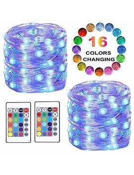 Led String Lights, Color Changing Fairy Lights Battery Powered Starry Firefly Lights Remote Timer,16 Ft 50 Led 4 Modes Decorative Wire Lights Bedroom Party Xmas Home(16 Colors) by Liyuan Q
