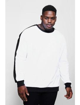 Big And Tall Sweater With Contrast Panel by Boohoo