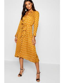 Horn Button Polka Dot Midi Shirt Dress by Boohoo