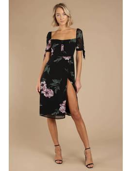 Feelin Floral Black Multi Side Slit Midi Dress by Tobi