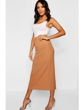 Rib Knit Maxi Skirt by Boohoo