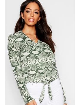 Woven Snake Print Tie Blouse by Boohoo