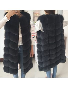 Natural Real Fox Fur Vest Natural Fur Coat For Jacket Female Coats Vest Waistcoat  Long Fur Coats Real Fur Coat Fox Vest Jacket by Lanshitina