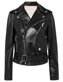 The Rockstud Embellished Leather Biker Jacket by Valentino