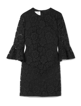 Donna Ruffled Corded Lace Mini Dress by Valentino