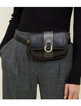 Black Faux Snake Ring Front Belt Bag by New Look