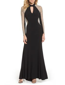 Beaded Choker Neck Gown by Xscape