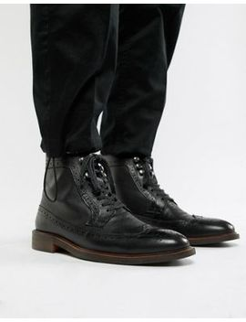Dune Lace Up Brogue Boots In Black by Dune