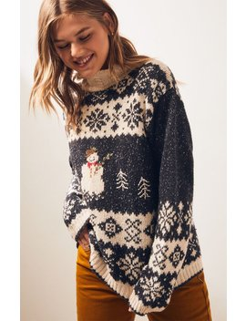 Retro Gold Vintage Navy Snowman Sweater by Pacsun