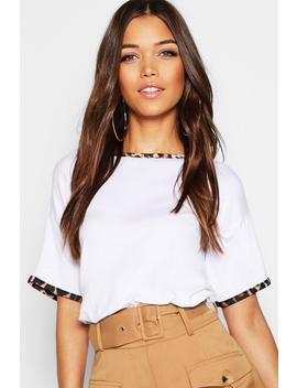 Leopard Print Ringer T Shirt by Boohoo