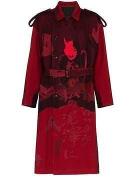 Female Print Wool Blend Trench Coat by Yohji Yamamoto