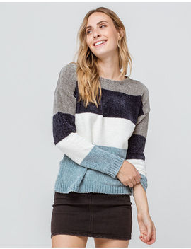 Poof Color Block Chenille Blue Womens Sweater by Poof