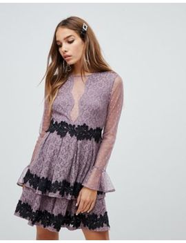 Dolly & Delicious Mesh Insert Mini Prom Dress With Floral Applique Trim In Mauve by Dolly Delicious