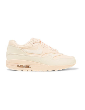Air Max 1 Reflective Logo Print Leather And Canvas Sneakers by Nike