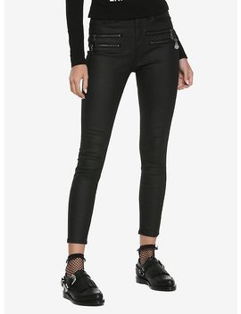 Blackcraft Pentagram Zipper Black Coated Skinny Jeans by Hot Topic