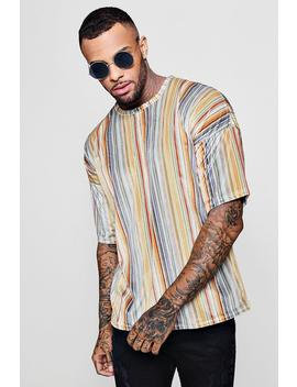 Drop Shoulder Stripe Velour T Shirt by Boohoo
