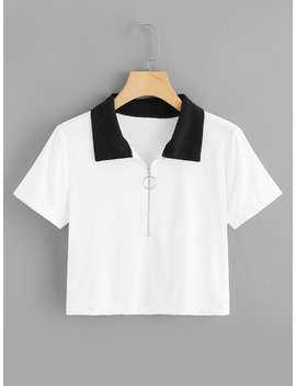 Zip Up Front Contrast Collar Tee by Romwe