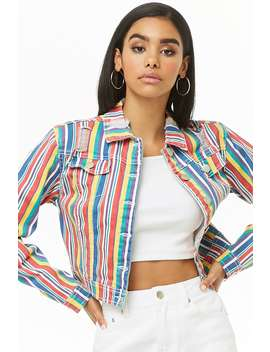 Rainbow Striped Cropped Jacket by Forever 21